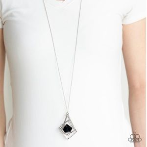 Black Pentagonal Necklace Earring Set NWT